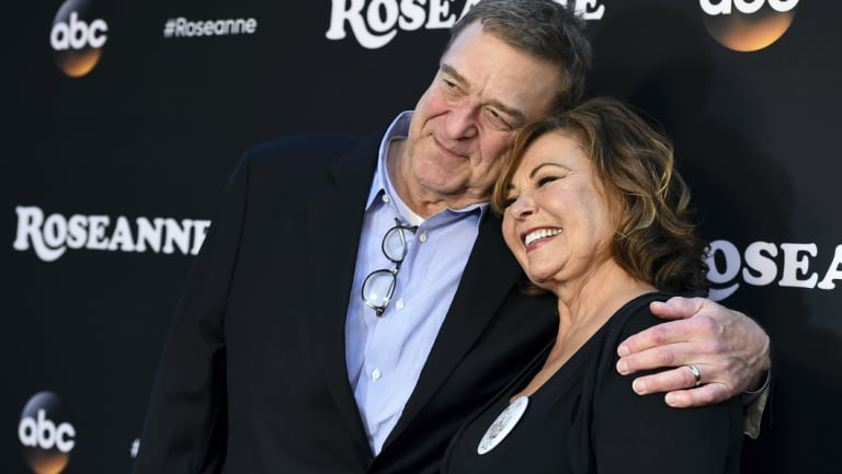 Goodman and Barr at the premiere of Roseanne in March.