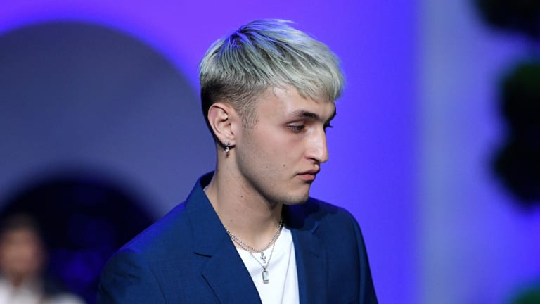 Here's not  looking at you ... Anwar Hadid in the David Jones show on Wednesday.