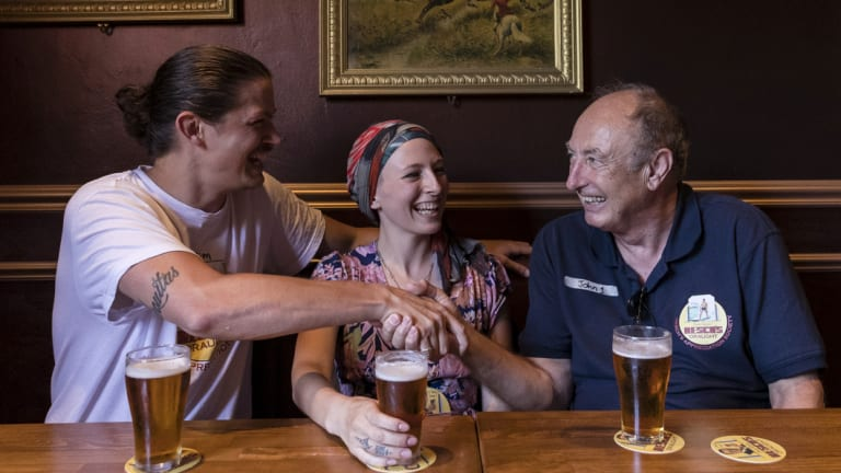 Jim Barker, Jamie Lee-Garner, Mark Sullivan and John Watkins at the Shakespeare Hotel enjoying a Resch's beer