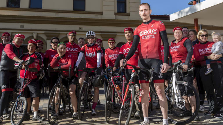 David Maywald with members of the Dulwich Hill cycle club.