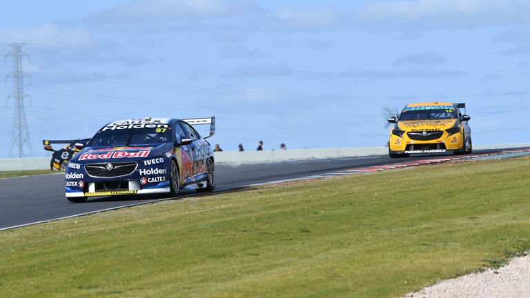 Championship leader: Holden's Shane van Gisbergen (left) finished second in Sunday's race at the Bend in South Australia.