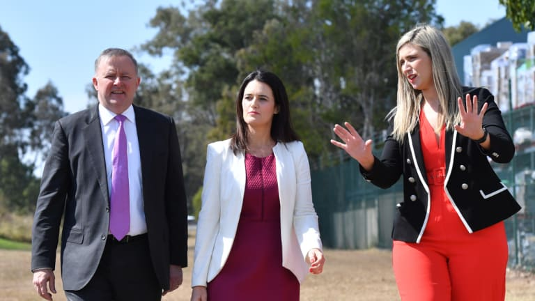 Corinne Mulholland (right) on the campaign trail with Anthony Albanese and Labor's Dickson candidate, Ali France.