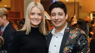 Gemma Oldfield and Rafael Ruiz at the launch of the Fairfax Sydney Good Food Month at the Old Clare Hotel on Monday.