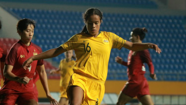 Mary Fowler playing for the Young Matildas.