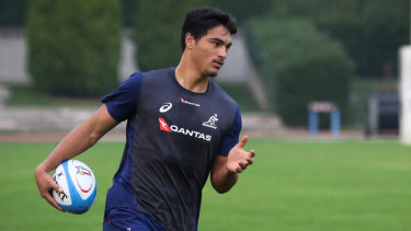 Ruled out: Petaia training with the Wallabies in Italy before injury ruled him out of a potential debut.