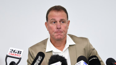 Distraught: Alen Stajcic fronts the media for the first time since his sacking last month.