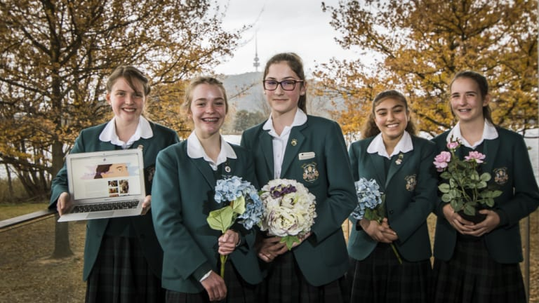 Canberra Girls Grammar School year 9 students, Charlotte Morrissey, Tatyana Ludwig, Anna Schier, Leila Mokahal and Sarah Larsen showcase their project, The Lilac Foundation, which plans to honour Marion Griffin