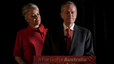 """""""I know that you're all hurting and I am too"""": Bill Shorten, with Chloe by his side, delivers his concession speech."""