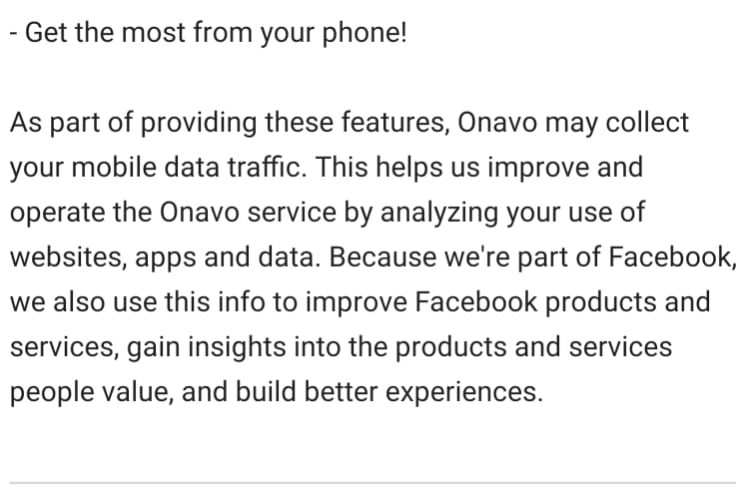 A notice on the Google Play store page for the app.