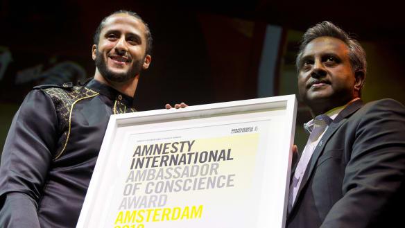 Kaepernick protests earn Amnesty International honour