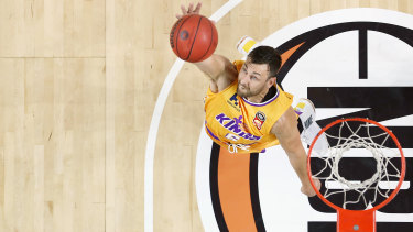Andrew Bogut playing for the Sydney Kings.