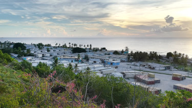 View of a settlement and hospital previously run by the charity Medecins Sans Frontieres in Nauru.