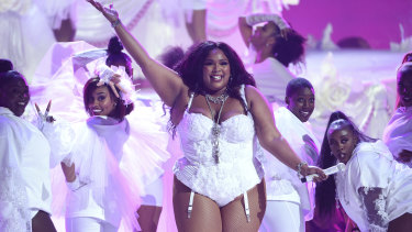 "Lizzo performs ""Truth Hurts"" at the BET Awards in Los Angeles on June 23, 2019."