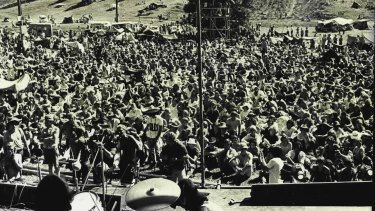 Part of the huge crowd at the Ourimbah pop festival, January 1970