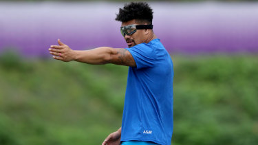 The eyes have it: Ardie Savea at training during the World Cup.