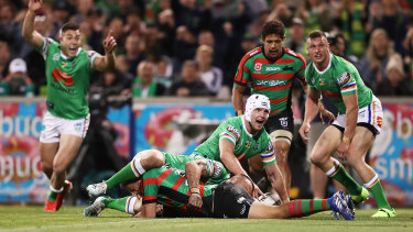 Jarrod Croker scores the first try against the Rabbitohs.