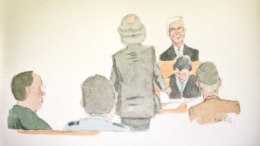 A sketch of David Eastman's first trial.