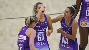 Gretel Tippett suffered a cut to her nose in the Firebirds' physical Super Netball clash against the Giants on Sunday.