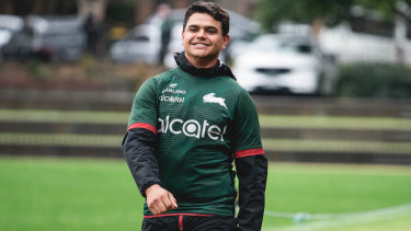 Latrell Mitchell arrives for Souths training on Monday.