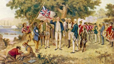 "John Alexander Gilfillan's 1889 painting ""Captain Cook taking possession of the Australian continent on behalf of the British Crown""."