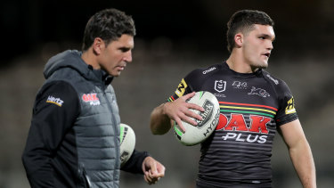 Panthers assistant Trent Barrett (left) is the man expected to be the next Bulldogs coach.