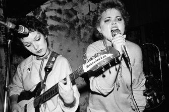 Jane Wiedlin and Belinda Carlisle in the band's early days in LA's punk scene.