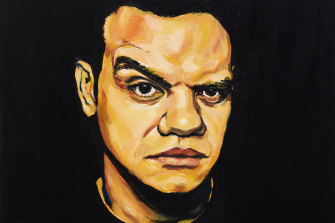 Meyne Wyatt has won the Archibald Packing Room Prize with his self-portrait.