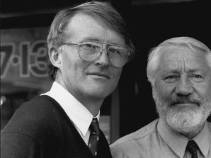 Robert Dunn (left) and councillor Eric Green (right) in 1991.
