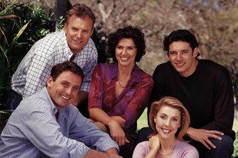 Getaway presenters David Reyne (clockwise from top left) with Sorrel Wilby, Brendan Julian, Catriona Rowntree and Ben Dark in 2003.