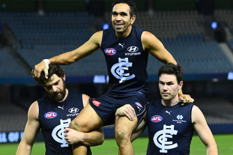 Eddie Betts is chaired off the field in his final game.