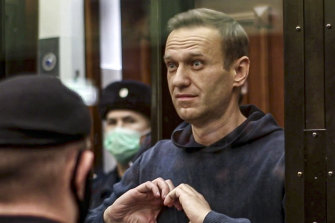 Alexei Navalny during a court hearing in Moscow on February 2.
