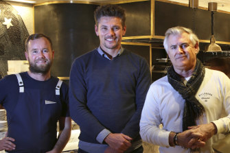 """""""Under-capitalisation not just here, but all around the world, is a major issue"""", says architect Michael McCann, right, seen here at the at the Pacific Club Bondi Beach with chef Bret Cameron and owner Matt Williams."""
