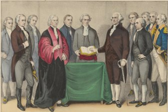 George Washington's swearing in as the first US president, in 1789.