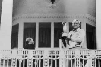 Greg Norman on the balcony of the Turnberry Hotel after his victory in the British Open. July 20, 1986.