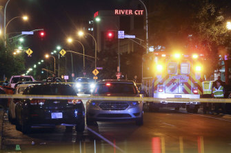 The Louisville Metro Police Department block off the scene of the shooting at Jefferson Square Park in Louisville.