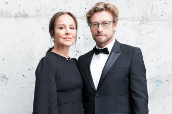 Simon Baker and Rebecca Rigg at the 2019 American Australian Arts Awards.
