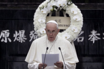 Pope Francis delivers a speech at the Atomic Bomb Hypocentre Park in Nagasaki, Japan.