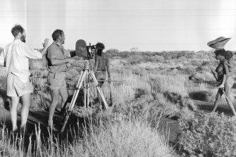 Director Ian Dunlop (left) and cameraman Richard Howe Tucker record in 1966.