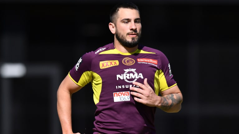 Jack Bird in action during a Broncos training session at Clive Berghofer Field in Brisbane.