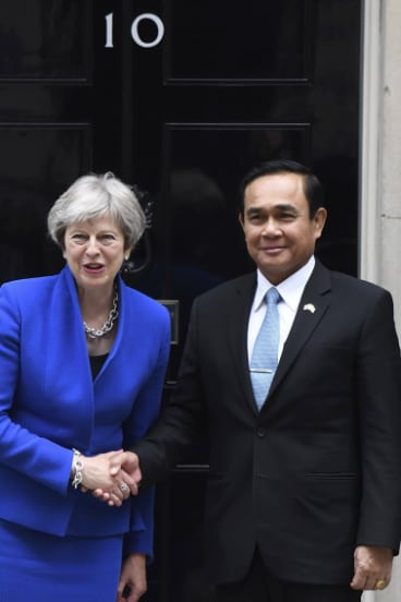 Britain's Prime Minister Theresa May welcomes Thai counterpart Prayuth Chan-ocha to 10 Downing Street last week.