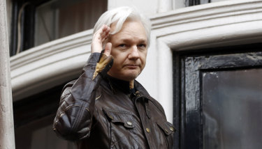 WikiLeaks founder Julian Assange at the Ecuadorean embassy .