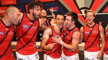 Zac Clarke, second from left, is back in the Bombers' side.