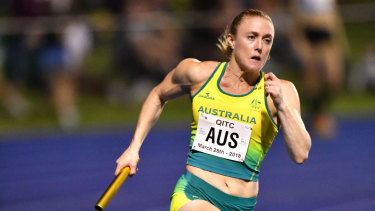Flying: File photo of Sally Pearson, who helped Australia's 4x100m relay to a scorching time in Japan.