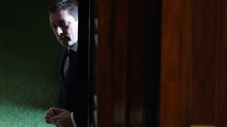 Victorian Leader of the Opposition Matthew Guy is seen outside the Legislative Assembly at Parliament House in Melbourne, on Tuesday.