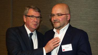 Lynton Crosby and Mark Textor in 2015.