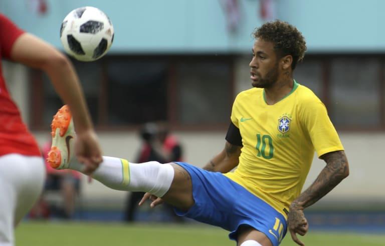 Brazil's Neymar against Austria at the Ernst Happel Stadium in Vienna on Sunday.