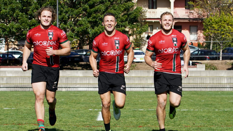 South Sydney Rabbitohs players: (from left) George, Sam, Tom Burgess.