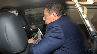 Mark Thompson leaves Melbourne Magistrates Court on Monday.