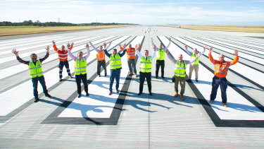 Images of the completed new Brisbane Airport runway, which runs parallel to the existing main runway.