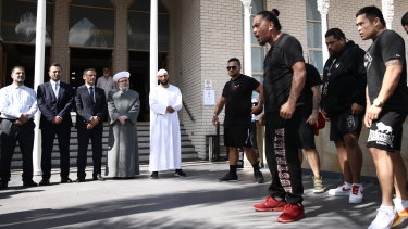 The Haka was performed at the Lakemba Mosque after Friday prayers.